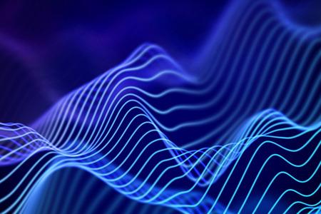 3D Sound waves. Big data abstract visualization. Digital technology concept: virtual landscape. Futuristic background. Blue sound waves, visual audio waves equalizer, EPS 10 vector illustration. Illustration
