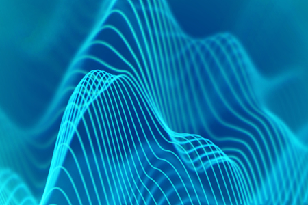 3D Sound waves. Big data abstract visualization. Digital technology concept: virtual landscape. Futuristic background. Blue sound waves, visual audio waves equalizer, EPS 10 vector illustration. Stockfoto