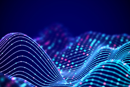 3D Sound waves with colored dots. Big data abstract visualization. Digital concept: virtual landscape. Futuristic background. Blue sound waves, visual audio waves equalizer, EPS 10 vector illustration Imagens - 127633099