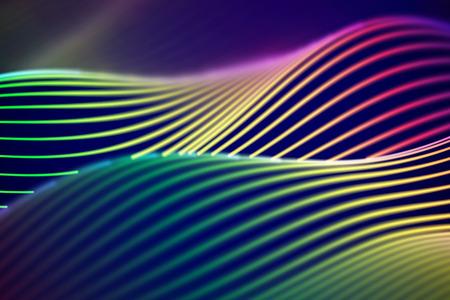 3D Sound waves. Big data abstract visualization. Digital technology concept: virtual landscape. Futuristic background. Colored sound waves, visual audio waves equalizer, EPS 10 vector illustration. Imagens - 127633102