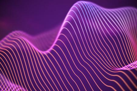 3D Sound waves. Big data abstract visualization. Digital technology concept: virtual landscape. Futuristic background. Pink sound waves, visual audio waves equalizer Imagens - 127341725