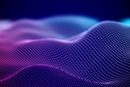 Abstract digital landscape or soundwaves with flowing particles. Big data technology background. Visualization of sound waves. Virtual reality concept: 3D digital surface. EPS 10 vector illustration. Imagens - 127459341