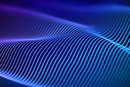 3D Sound waves. Big data abstract visualization. Digital technology concept: virtual landscape. Futuristic background. Blue sound waves, visual audio waves equalizer, EPS 10 vector illustration. Imagens - 127459345