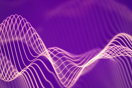 3D Sound waves. Big data abstract visualization. Digital technology concept: virtual landscape. Futuristic background. Pink sound waves, visual audio waves equalizer, EPS 10 vector illustration. Imagens - 127459349