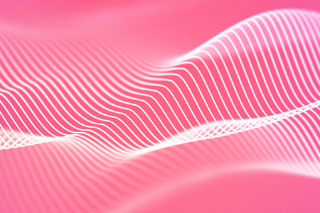 3D Sound waves. Big data abstract visualization. Digital technology concept: virtual landscape. Futuristic background. Pink sound waves, visual audio waves equalizer Imagens - 127341807
