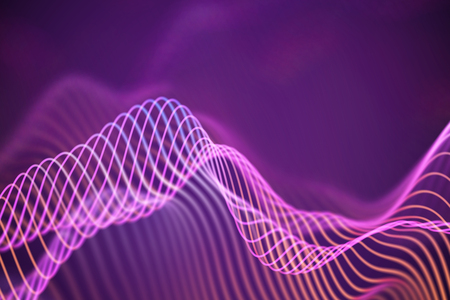 3D Sound waves. Big data abstract visualization. Digital technology concept: virtual landscape. Futuristic background. Pink sound waves, visual audio waves equalizer Imagens - 127341808