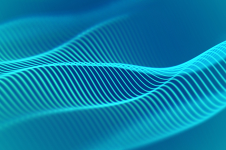 3D Sound waves. Big data abstract visualization. Digital technology concept: virtual landscape. Futuristic background. Blue sound waves, visual audio waves equalizer, EPS 10 vector illustration. Ilustração