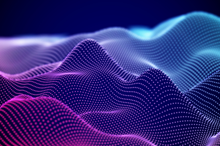 Visualization of sound waves. Abstract digital landscape or soundwaves with flowing particles. Big data technology background. Virtual reality concept: 3D digital surface. EPS 10 vector illustration. Imagens - 127459363