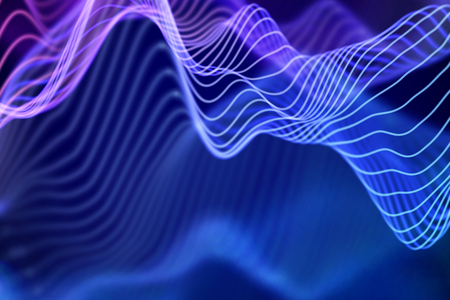 Big data abstract visualization: business charts analytics. 3D Sound waves. Digital surface with flowing curves. Futuristic technology background. Blue sound waves, EPS 10 vector illustration. Imagens - 127459372
