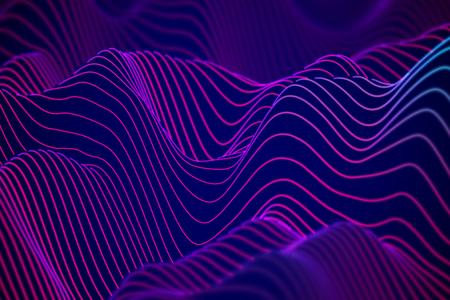 Abstrakte Visualisierung von Big Data: Analyse von Geschäftsdiagrammen. 3D Schallwellen. Digitale Oberfläche mit fließenden Kurven. Futuristischer technologischer Hintergrund. Blaue Schallwellen, EPS 10 Vektorillustration.