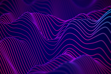 Big data abstract visualization: business charts analytics. 3D Sound waves. Digital surface with flowing curves. Futuristic technology background. Blue sound waves, EPS 10 vector illustration.