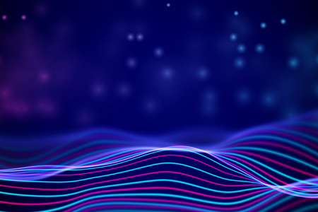 3D Sound waves with floating particles. Data abstract visualization. Digital concept: virtual landscape. Futuristic background. Colored sound waves, audio waves equalizer, EPS 10 vector illustration Imagens - 127459379