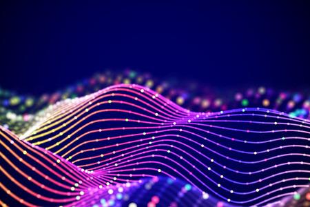 Onde sonore 3D con punti colorati. Visualizzazione astratta di big data. Concetto digitale: paesaggio virtuale. Sfondo futuristico. Onde sonore, equalizzatore di onde audio visive, illustrazione vettoriale Eps 10.