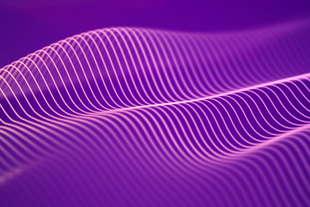 3D Sound waves. Big data abstract visualization. Digital technology concept: virtual landscape. Futuristic background. Pink sound waves, visual audio waves equalizer, EPS 10 vector illustration.