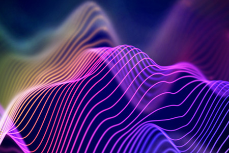 3D Sound waves. Big data abstract visualization. Digital technology concept: virtual landscape. Futuristic background. Colored sound waves, visual audio waves equalizer, EPS 10 vector illustration.