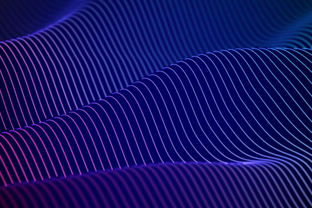 3D Sound waves. Big data abstract visualization. Digital technology concept: virtual landscape. Futuristic background. Blue sound waves, visual audio waves equalizer, EPS 10 vector illustration. Stock Illustratie