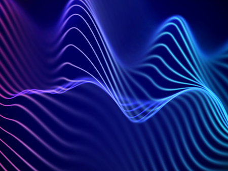 3D visualization of sound waves. Big data or information concept: Blue-pink chart. Data abstract: futuristic digital landscape. Visual sound waves or audio equalizer. EPS 10 vector illustration.