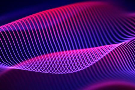3D Sound waves, visual audio equalizer. Big data abstract visualization. Neon bright sound waves. Digital technology concept: virtual landscape. Modern background. EPS 10 vector illustration. Imagens - 127138966