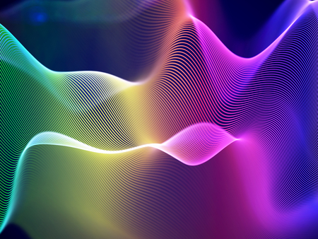 3D visualization of sound waves. Big data or information concept: Multicolor chart. Data abstract: futuristic digital landscape. Visual sound waves or audio equalizer. EPS 10 vector illustration.
