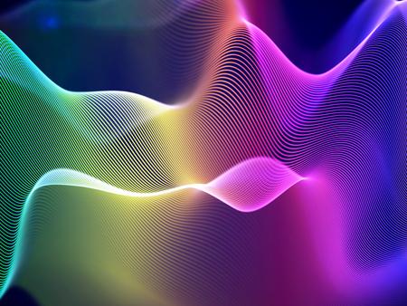 Visualisation 3D des ondes sonores. Big data ou concept d'information : graphique multicolore. Résumé de données : paysage numérique futuriste. Ondes sonores visuelles ou égaliseur audio. Illustration vectorielle EPS 10.