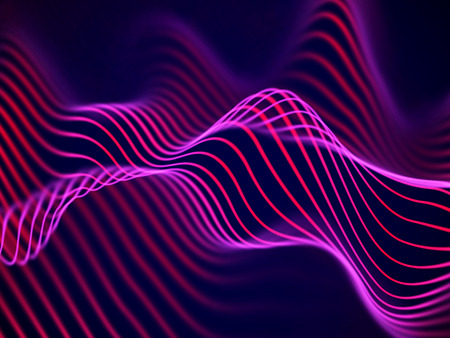 3D visualization of sound waves. Big data or information concept: Red chart. Data abstract: futuristic digital landscape. Visual sound waves or audio equalizer. EPS 10 vector illustration. Иллюстрация