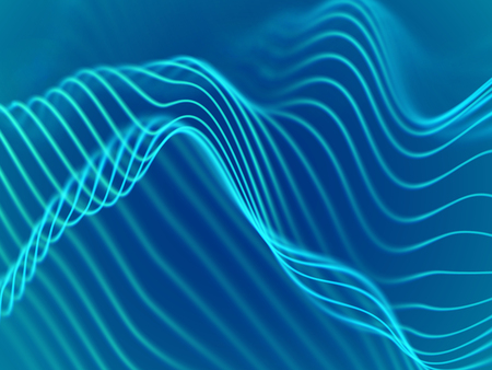 3D visualization of sound waves. Big data or information concept: Turquoise chart. Data abstract: futuristic digital landscape. Visual sound waves or audio equalizer. EPS 10 vector illustration.