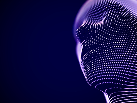 Concepto de realidad virtual o ciberespacio: rostro masculino formado por partículas. Cabeza de hombre o robot futurista. Visualización abstracta de inteligencia artificial y futuro. EPS 10, ilustración vectorial.