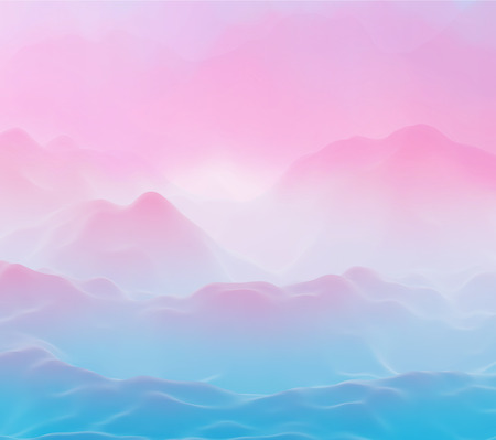 Abstract futuristic 3D mountains foggy landscape on alien planet. Space surface - sci-fi backdrop. Virtual reality concept or cyberspace background. Fictional world, vector EPS10 illustration.