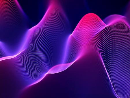3D Sound waves, visual audio equalizer. Big data abstract visualization. Neon bright sound waves. Digital technology concept: virtual landscape. Modern background. EPS 10 vector illustration. Ilustração