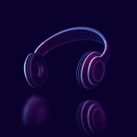 3D headphone on dark background. Abstract visualization of digital sound and virtual reality. Concept of electronic music listening. Digital audio technology equipment. EPS 10 vector illustration.