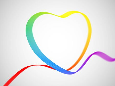 Valentines day greeting card: ribbon in heart shape painted as the rainbow flag on white background. Symbol of gay love. Illustration