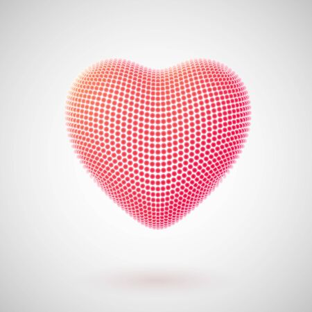 Valentines day greeting card: red balls in the shape of a 3D heart. Postcard for Happy Womens, Mothers, Valentines Day and birthday. Illustration