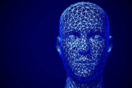 Cyberspace or machine learning concept: polygonal male face. Digital human or robot head -abstract visualization of artificial intelligence and face recognition technology. Çizim