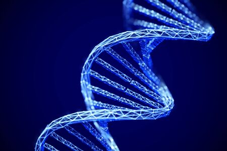 Concept of future genetic technology: 3D digital polygonal DNA double helix molecule. Artificial intelligence in medicine.