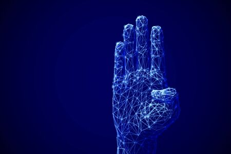 Artificial intelligence or machine learning concept: digital arm raised up to ask a question. E-learning or electronic online voting concept. Abstract technology background.