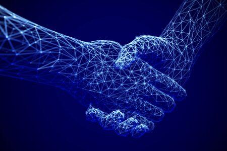 Tecnología de la información en los negocios, acuerdos digitales o comercio en línea: apretón de manos digital. Inteligencia artificial o comunicación global.