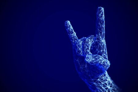 Digital art and modern culture concept: Rock n roll or heavy metal sign gesture in cyberspace. Artificial intelligence or electronic music.