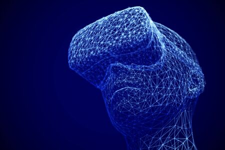 Virtual reality experience concept: man wearing virtual reality glasses. Illusztráció