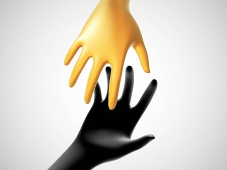 Two 3D hands taking each other on white background. Concept of help, charity, business assistance and partnership. Golden fortune hand reaches for black hand. Vector illustration of helping gesture.