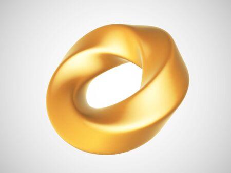 3D golden deformed torus isolated on white background. Glamorous and luxury golden decoration element. Vector illustration of torus geometric shape. Vector Illustration