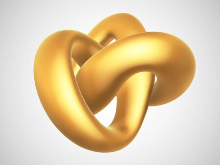 3D golden torus knot isolated on white background. Glamorous and luxury golden decoration element. Symbol of infinity and endlessness made of gold. Vector illustration of abstract geometric shape. Vector Illustration