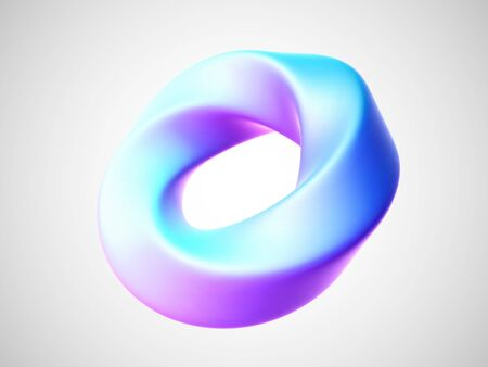 3D torus isolated on white background. Design element in shape of twisted torus or ring figure. Vector illustration of white abstract geometric object.