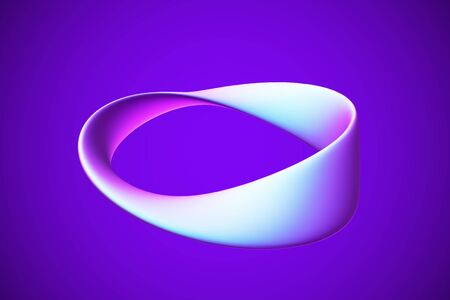 3D blue Moebius strip isolated on white background. Concept of eternity, endless and limitless income. Vector illustration of Moebius tape - abstract infinity symbol. Geometric object made of gold.