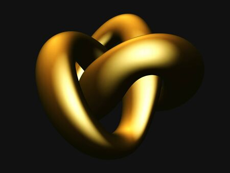 3D golden torus knot isolated on black background. Glamorous and luxury golden decoration element. Symbol of infinity and endlessness made of gold. Vector illustration of abstract geometric shape.