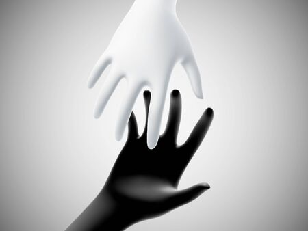 Two 3D hands taking each other on white background. Concept of help, charity, business assistance and partnership. White hand reaches for black hand. Vector illustration of helping gesture. Illustration