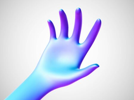 Blue open palm offering something . Concept of charity, care and online support. Vector illustration of inviting gesture. Blue hand giving out something on white background.