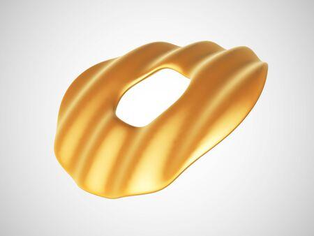 3D golden wavy torus isolated on white background. Glamorous and luxury golden decoration element. Vector illustration of torus geometric shape.
