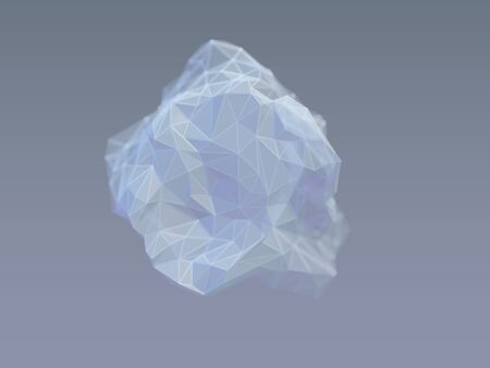 3D wireframe stone on gray background. Concept of geology and modern technologies: computer model of mineral resource. Abstract low poly vector illustration of mineral rock or meteorite.
