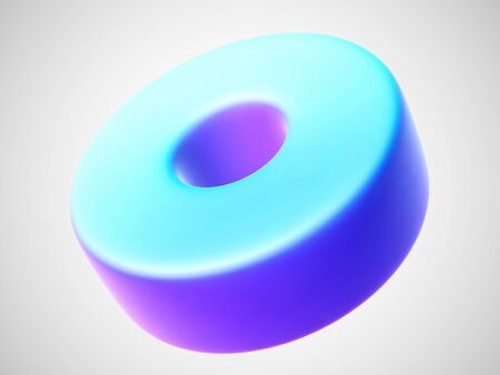 3D blue torus isolated on white background. Bright design element in shape of torus or ring figure. Vector illustration of ring geometric object.