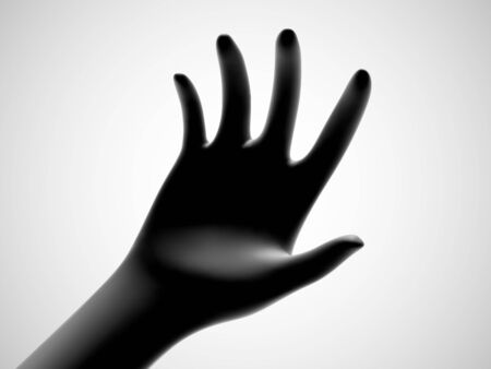 3D black open palm offering something. Concept of charity, care and support. Vector illustration of inviting gesture. Black hand giving out something on white background.